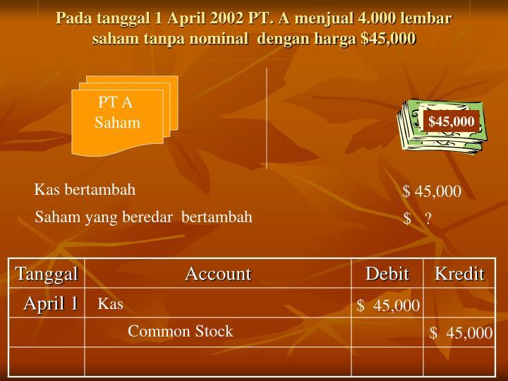 Pada tanggal 1 April 2002 PT. A menjual 4.000 lembar saham tanpa nominal  dengan harga $45,000