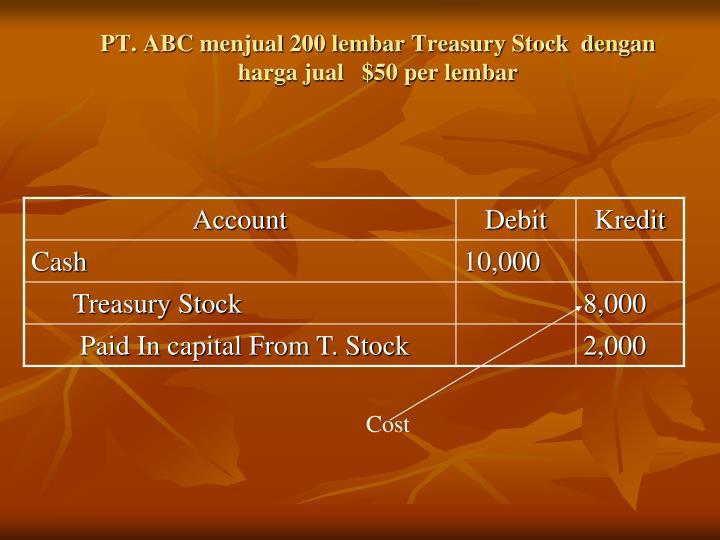 PT. ABC menjual 200 lembar Treasury Stock  dengan harga jual   $50 per lembar