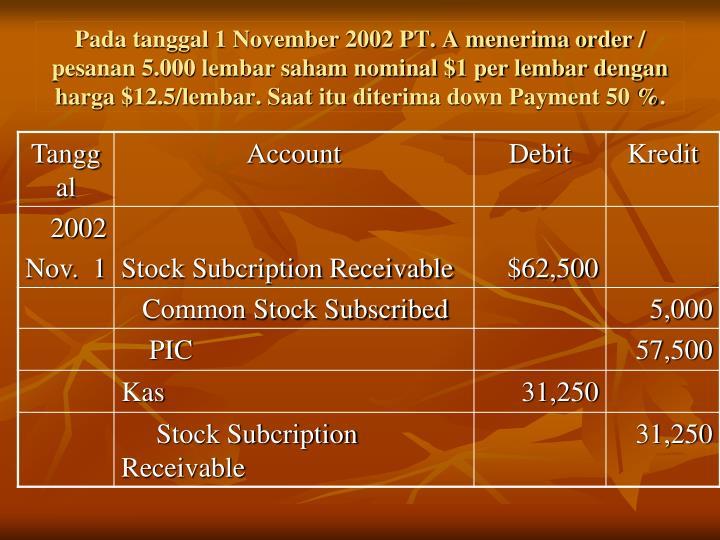 Pada tanggal 1 November 2002 PT. A menerima order / pesanan 5.000 lembar saham nominal $1 per lembar dengan harga $12.5/lembar. Saat itu diterima down Payment 50 %.