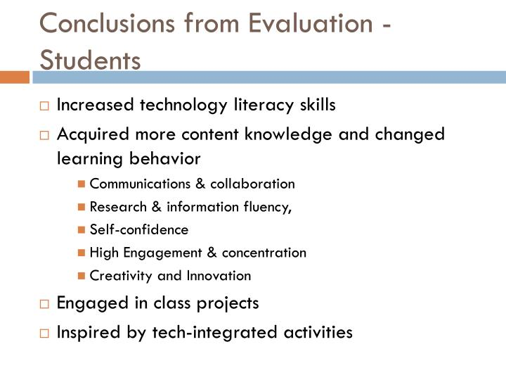 Conclusions from Evaluation -