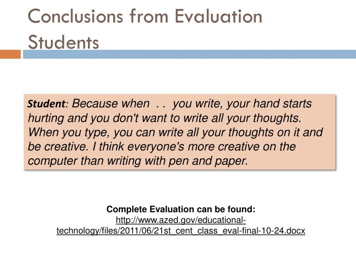 Conclusions from Evaluation