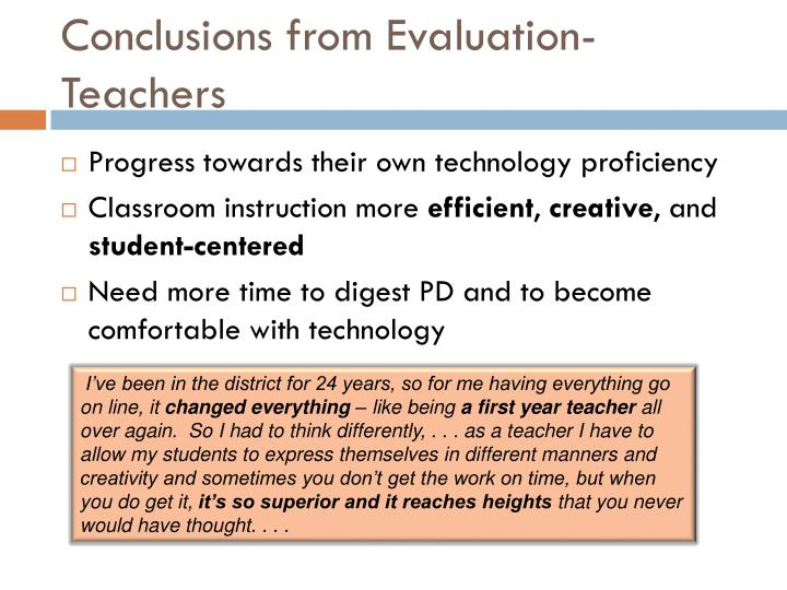 Conclusions from Evaluation-
