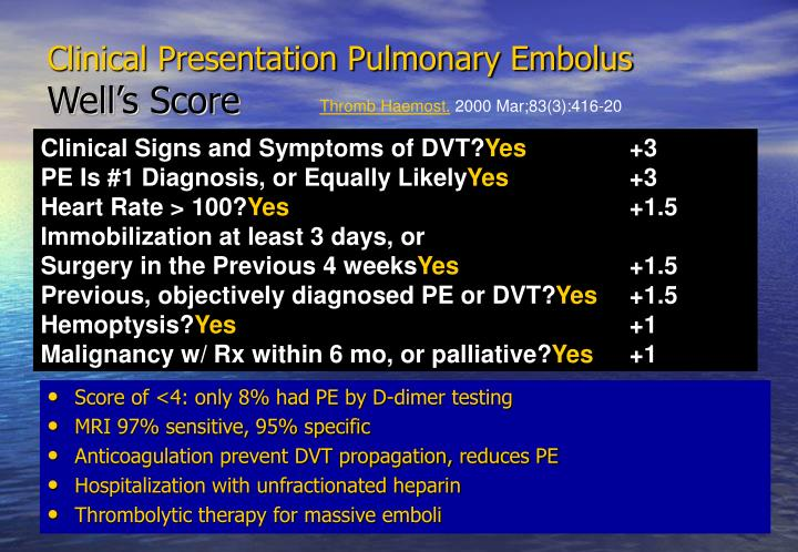 Clinical Presentation Pulmonary Embolus