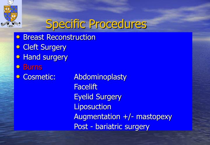 Specific Procedures