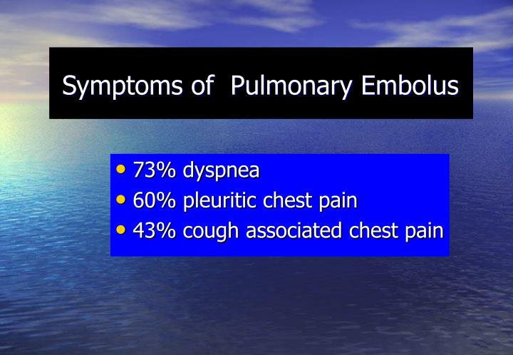 Symptoms of  Pulmonary Embolus