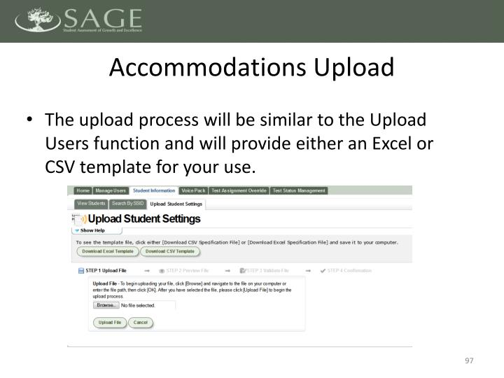 Accommodations Upload