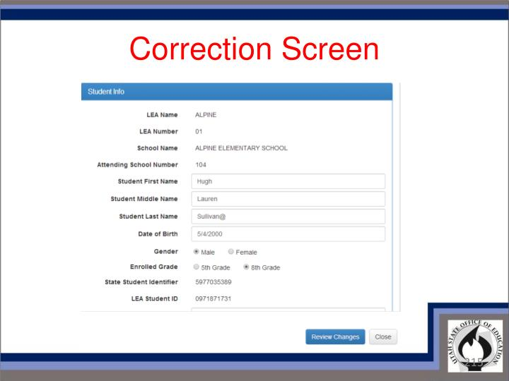 Correction Screen