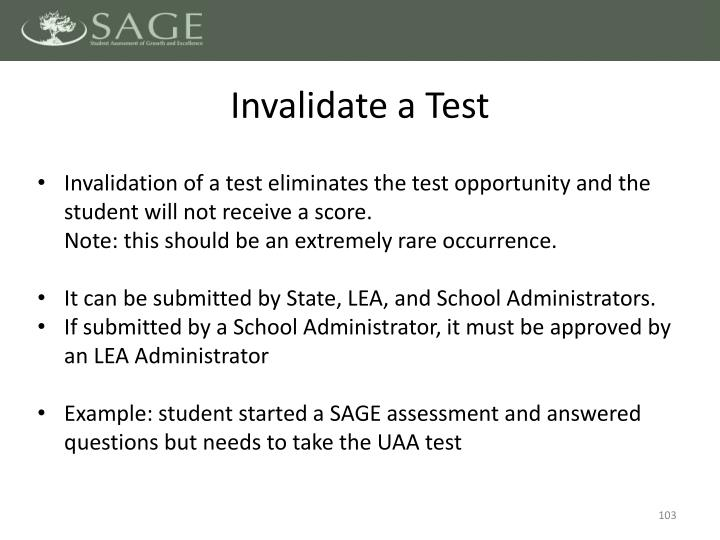 Invalidate a Test