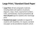 large print standard sized paper
