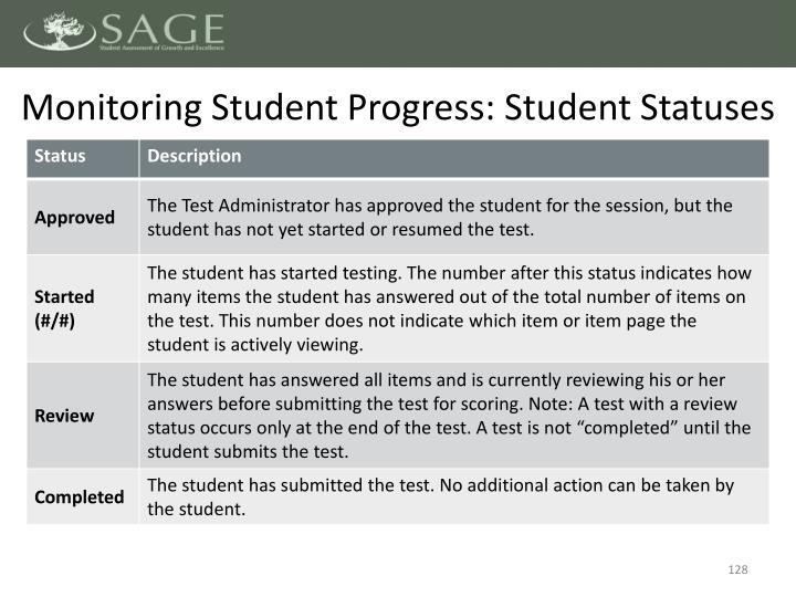 Monitoring Student Progress: Student Statuses