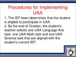 procedures for implementing uaa1
