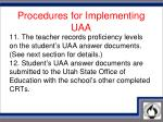 procedures for implementing uaa6