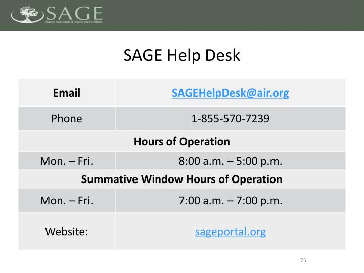 SAGE Help Desk