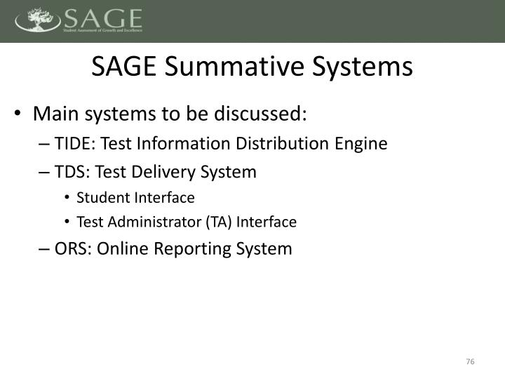 SAGE Summative Systems