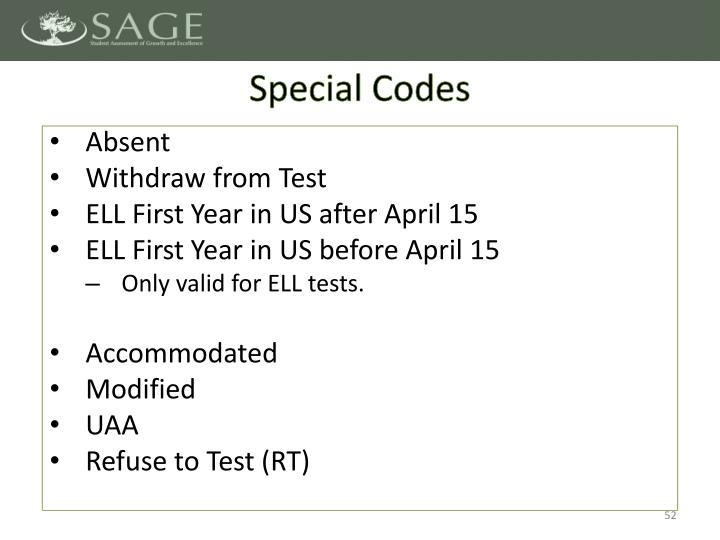 Special Codes