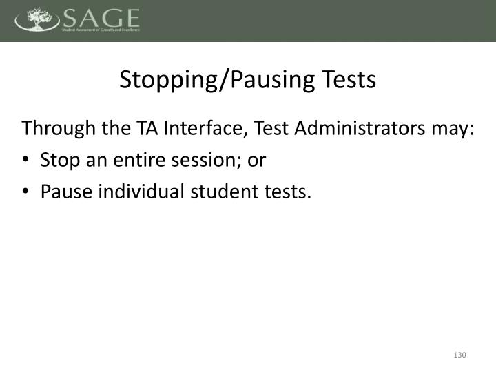 Stopping/Pausing Tests