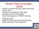 student data exchanges sage