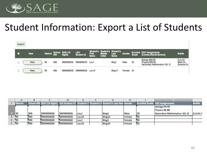 Student Information: Export a List of Students