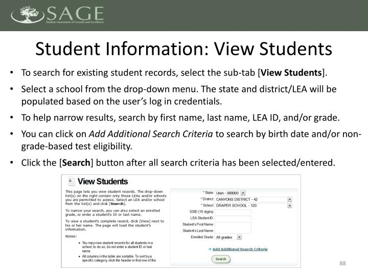 Student Information: View Students