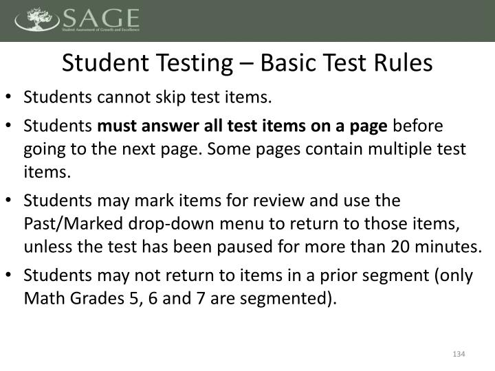 Student Testing – Basic Test Rules