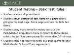 student testing basic test rules