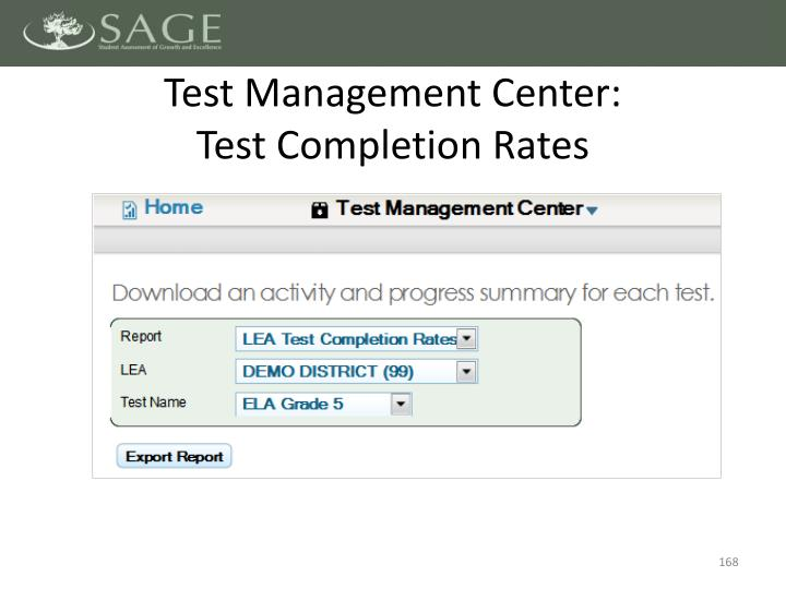 Test Management Center: