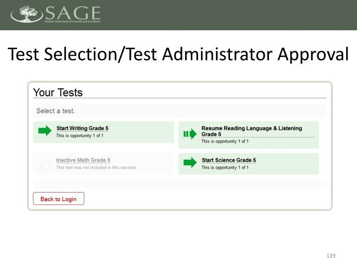 Test Selection/Test Administrator Approval