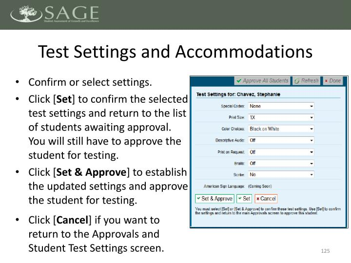 Test Settings and Accommodations