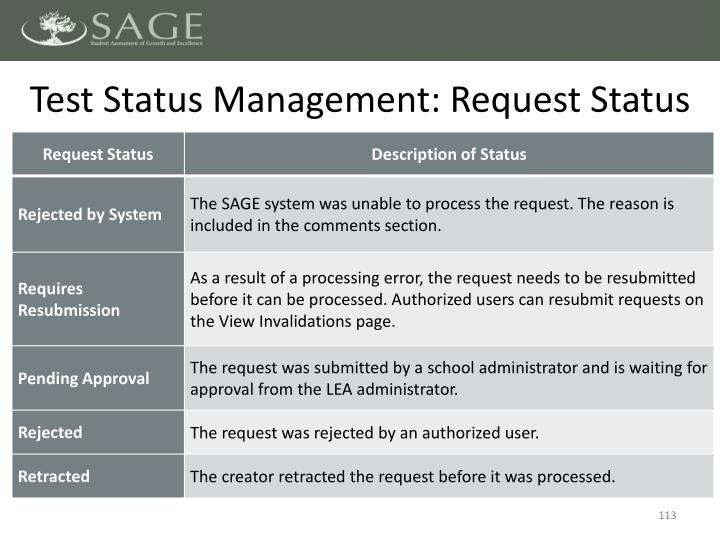 Test Status Management: Request Status