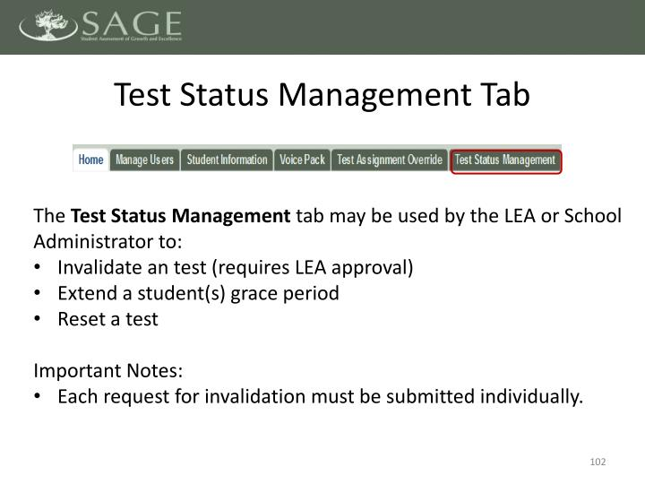 Test Status Management Tab