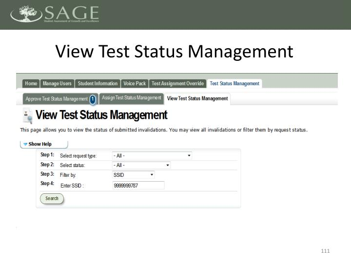 View Test Status Management