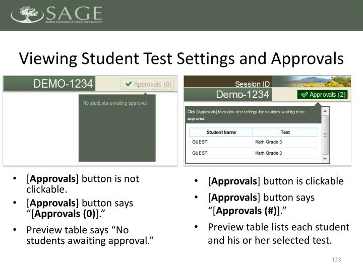 Viewing Student Test Settings and Approvals