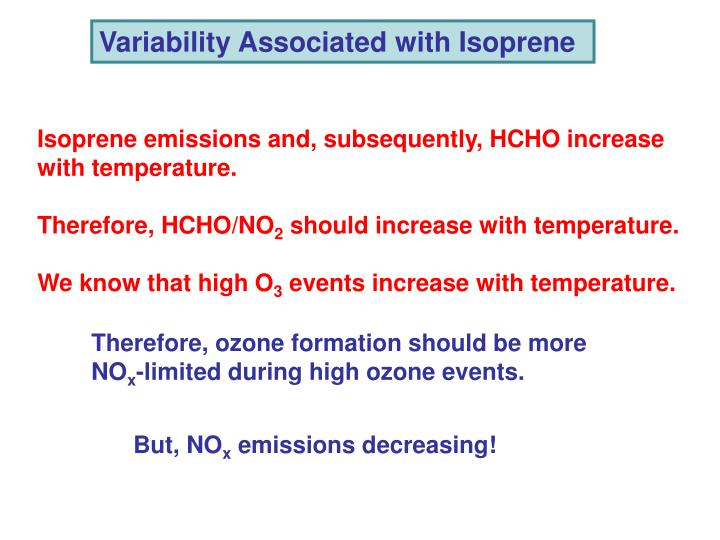 Variability Associated with Isoprene
