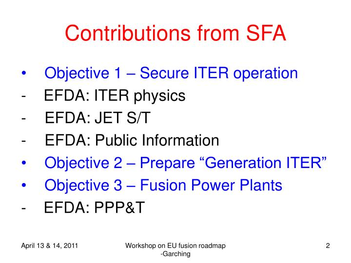 Contributions from sfa