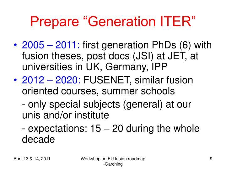 """Prepare """"Generation ITER"""""""