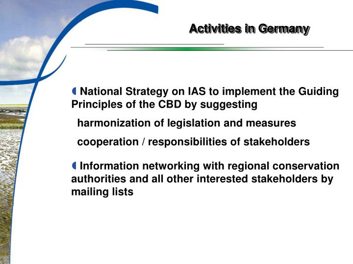 Activities in Germany