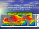 atmospheric boundary layer response to tropical instability waves tiws in eastern tropical pacific