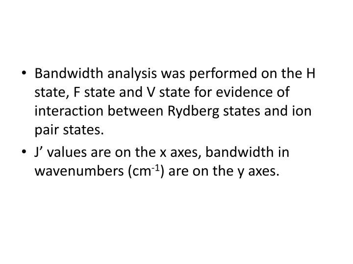 Bandwidth analysis was performed on the H state, F state and V state for evidence of interaction between Rydberg states and ion pair states.