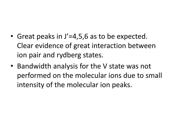 Great peaks in J'=4,5,6 as to be expected. Clear evidence of great interaction between ion pair and rydberg states.