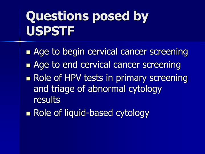 Questions posed by USPSTF