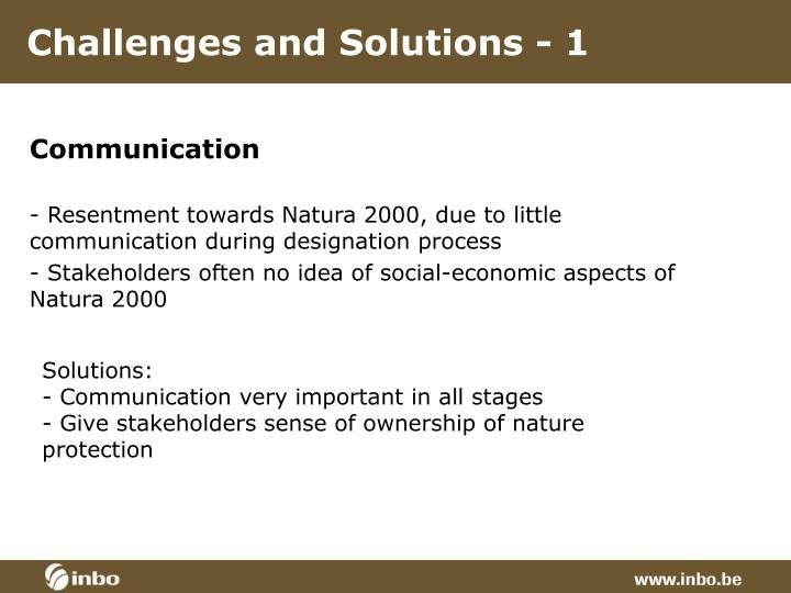 Challenges and Solutions - 1