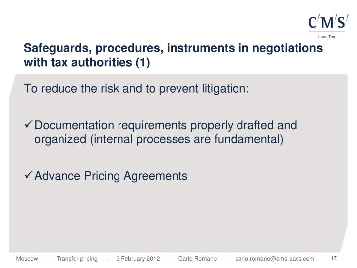 Safeguards, procedures, instruments in negotiations with tax authorities (1)