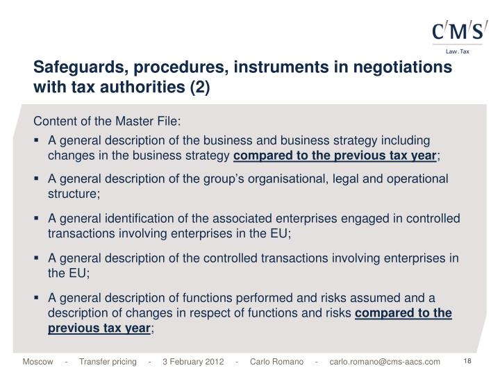 Safeguards, procedures, instruments in negotiations with tax authorities (2)
