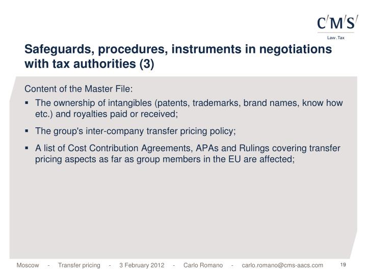 Safeguards, procedures, instruments in negotiations with tax authorities (3)