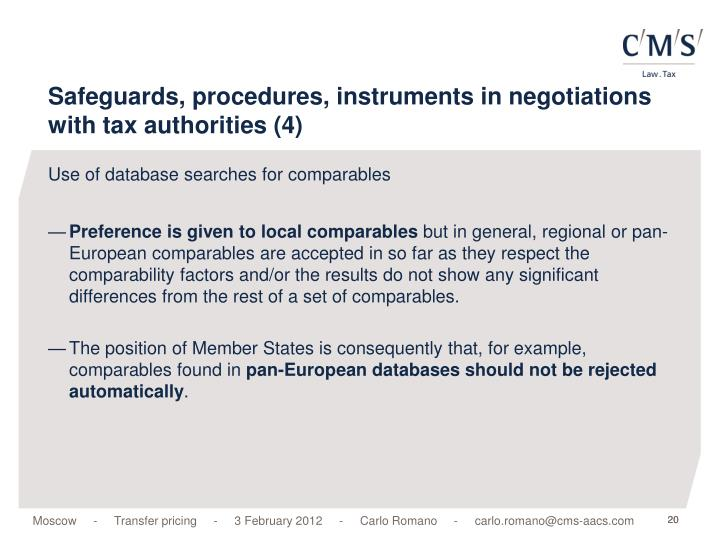 Safeguards, procedures, instruments in negotiations with tax authorities (4)