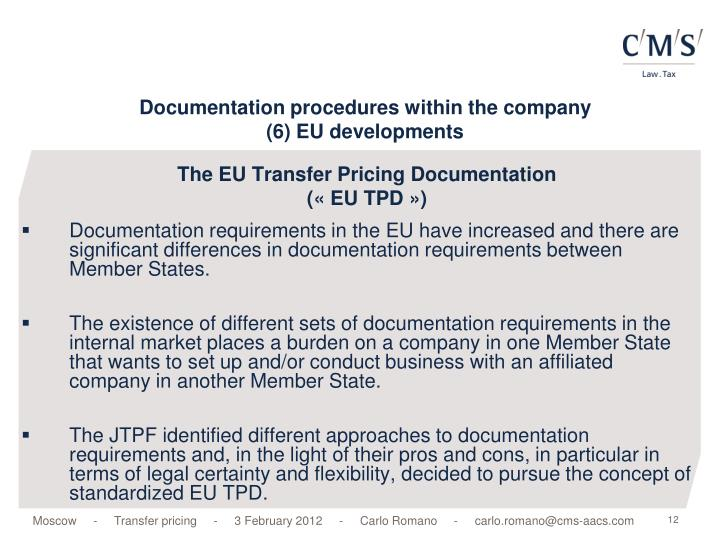 The EU Transfer Pricing Documentation