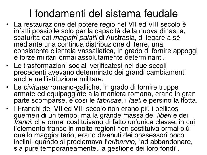 I fondamenti del sistema feudale