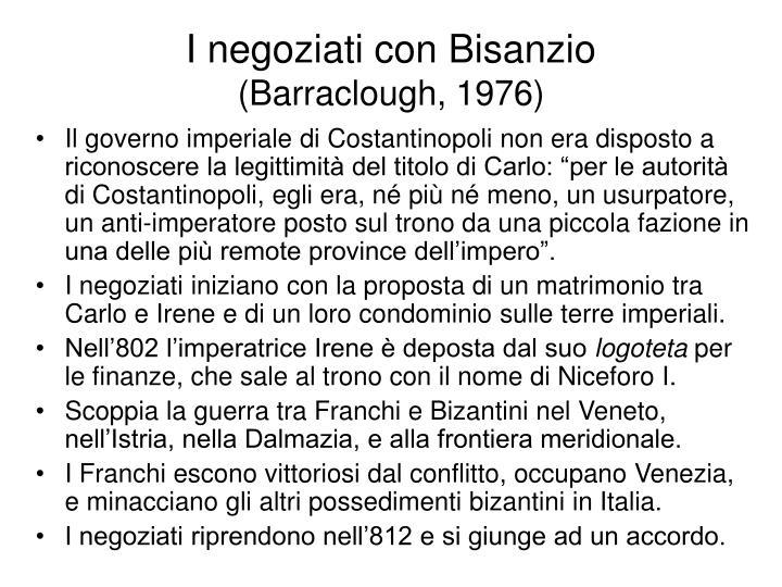 I negoziati con Bisanzio