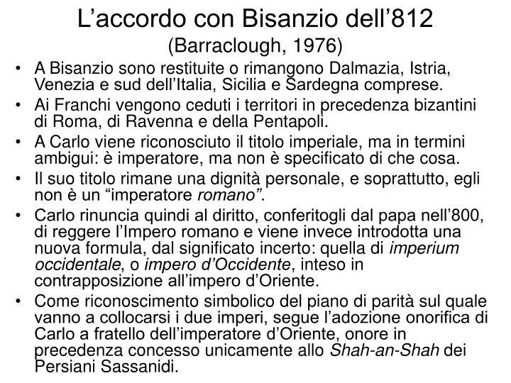 L'accordo con Bisanzio dell'812