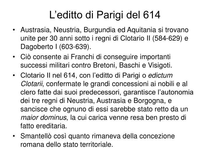 L'editto di Parigi del 614